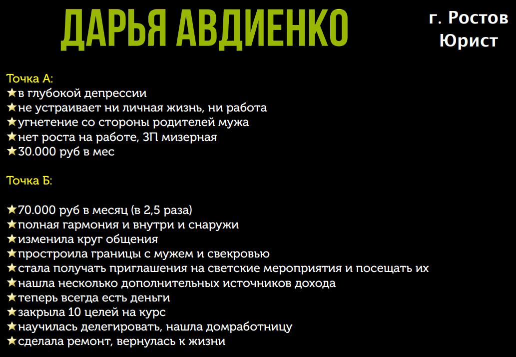 Победитель 4 потока курса «Финансовый форсаж» Дарья Авдиенко